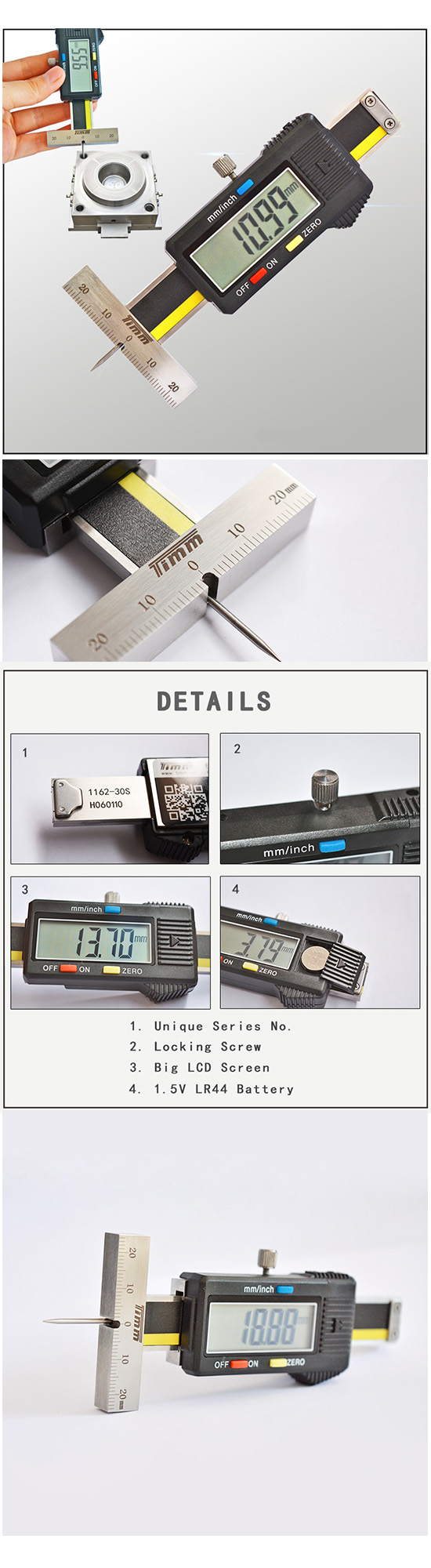 Mini Thin Rod digital depth caliper to measure small holes Digital Tire Tread depth gauge